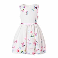 baratos Roupas de Meninas-Para Meninas Activo Diário / Para Noite Sólido / Floral / Borboleta Sem Manga Algodão Vestido Branco 100 / Fofo / Princesa