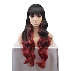 billiga Peruker och hårförlängning-Syntetiska peruker Naturligt vågigt Syntetiskt hår Röd / Svart Peruk Lång Utan lock Svart / Röd