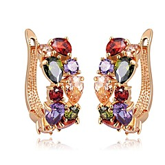 cheap -Women's Colorful Synthetic Ruby Zircon Stud Earrings - Classic Colorful Ethnic Irregular For Daily Street
