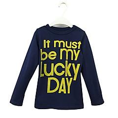 baratos Roupas de Meninos-Para Meninos Camiseta Sólido Letra Primavera Outono Algodão Manga Longa Simples Azul