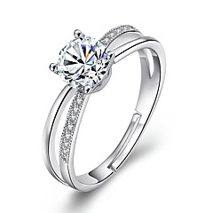 billige Motering-Dame Kubisk Zirkonium Statement Ring - Legering Enkel Justerbar Sølv Til Bryllup Engasjement