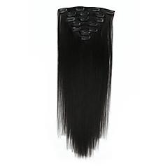 お買い得  人毛エクステンション-Clip In 人間の髪の拡張機能 7PCS /パック 70グラム/パック ベージュブロンド//ブリーチブロンド チェスナットブラウン/ブリーチブロンド ミディアムブラウン  /ストロベリーブロンド ミディアムブラウン/ブリーチブロンド ゴールデンブラウン/ブリーチブロンド