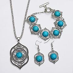 baratos Conjuntos de Bijuteria-Turquesa Conjunto de jóias - Turquesa Simples, Étnico Incluir Brincos Compridos / Colar Verde Para Diário