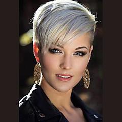 cheap Wigs & Hair Pieces-Human Hair Capless Wigs Human Hair Straight Pixie Cut Side Part Short Machine Made Wig