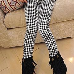 billige Bukser og leggings til piger-Børn Pige Ruder Bomuld Bukser Sort / Sødt