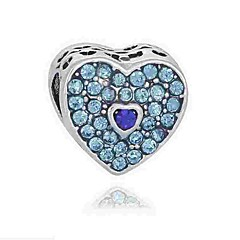 baratos Miçangas & Fabricação de Bijuterias-Jóias DIY 1 pçs Contas Imitações de Diamante Liga Branco Azul Rosa Claro Coração Bead 0.2 cm faça você mesmo Colar Pulseiras