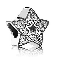 baratos Miçangas & Fabricação de Bijuterias-Jóias DIY 1 pçs Contas Imitações de Diamante Liga Prata Estrela Bead 0.5 cm faça você mesmo Colar Pulseiras