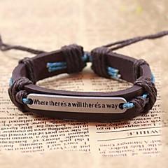 billiga -Herr Pojkar Läder Läder Armband Tappning Armband - Retro / vintage Handgjord Inspirerande Justerbara Kaffe Armband Till Gåva Dagligen