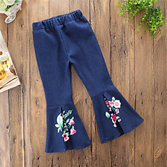 billige Bukser og leggings til piger-Baby Pige Vintage / Afslappet Daglig / I-byen-tøj Ensfarvet / Blomstret Spænde / Denimstof / Trykt mønster Bomuld / Polyester Jeans Blå 100