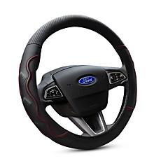 billige Rattovertrekk til bilen-Rattovertrekk til bilen ekte lær 38 cm Svart / Rød For Ford Focus / Escort / Fiesta Alle år