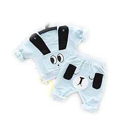 billige Sett med babyklær-Baby Pige Aktiv Daglig Geometrisk Langærmet Bomuld Tøjsæt Blå 100