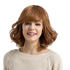 billige Lågløs-Human Hair Capless Parykker Menneskehår Krøllet Dyb Bølge Med bangs / pandehår Side del Medium Maskinproduceret Paryk Dame