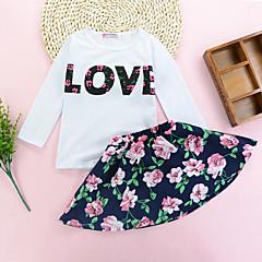 billige Tøjsæt til piger-Pige Tøjsæt Daglig I-byen-tøj Ensfarvet Blomstret Trykt mønster, Bomuld Alle årstider Langærmet Sødt Aktiv Hvid