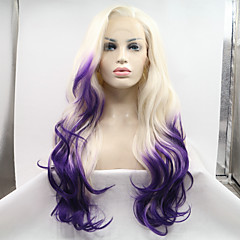 cheap Wigs & Hair Pieces-Synthetic Lace Front Wig Women's Wavy Blonde Layered Haircut Synthetic Hair Ombre Hair / Natural Hairline Blonde Wig Long Lace Front Blonde / Purple