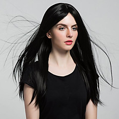 billiga Peruker och hårförlängning-Syntetiska snörning framifrån Rak Mittbena Svart Dam Spetsfront Halloween Paryk Celebrity Wig Naturlig peruk Cosplay Peruk 8-11inch