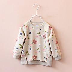 billige Hættetrøjer og sweatshirts til piger-Pige Hættetrøje og sweatshirt Blomstret, Bomuld Forår Efterår Langærmet Simple Hvid