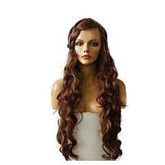 cheap Wigs & Hair Pieces-Synthetic Wig Women's Deep Wave Brown Synthetic Hair Highlighted / Balayage Hair / Natural Hairline Brown Wig Long Capless Dark Auburn