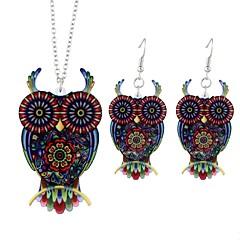 baratos Conjuntos de Bijuteria-Mulheres Conjunto de jóias - Coruja, Animal Simples, Fashion Incluir Brincos Compridos Colares com Pendentes Vermelho Para Cerimônia Para Noite