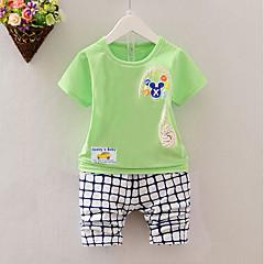 billige Tøjsæt til drenge-Baby / Spædbarn Drenge Afslappet Strand Trykt mønster Kortærmet Bomuld Tøjsæt