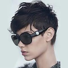 billige Lågløs-Human Hair Capless Parykker Menneskehår Naturligt, bølget hår Frisure i lag Med bangs / pandehår Side del Kort Maskinproduceret Paryk Dame
