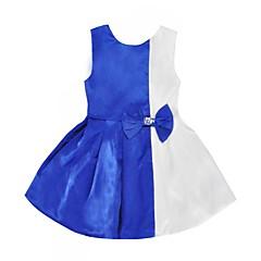 billige Pigekjoler-Pigens Kjole Daglig I-byen-tøj Farveblok, Polyester Sommer Uden ærmer Sødt Lysegrøn Marineblå