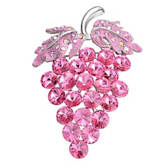 cheap Pins and Brooches-Women's Brooches Rhinestone Sweet Korean Gold Plated Grape Light Pink Jewelry For Gift Date