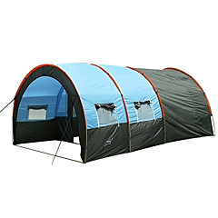 cheap Camping, Hiking & Backpacking-7 person Family Tent Outdoor Windproof, Keep Warm, Ultra Light (UL) Single Layered Poled Tunnel Camping Tent Two Rooms 1000-1500 mm for Fishing Beach Camping PU Leather, Fiberglass, Polyester