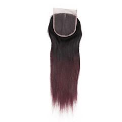 cheap Wigs & Hair Pieces-ALIMICE Brazilian Hair 4x4 Closure Straight Free Part / Middle Part / 3 Part Remy Human Hair Color Gradient