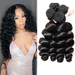 4 Bundles Brazilian Hair Loose Wave 8A Natural Color Hair Weaves   Hair  Bulk Extension 8-28 inch Human Hair Weaves Human Hair Extensions Women s 5a5e33d723fe