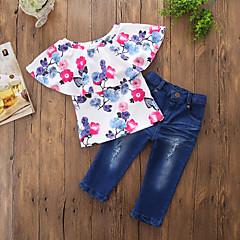billige Tøjsæt til piger-Baby Pige Afslappet / Aktiv Daglig / I-byen-tøj Blomstret Stilfuldt / Blomster / Printer Kortærmet Normal Normal Bomuld / Polyester Tøjsæt Blå / Ribbet / Trykt mønster