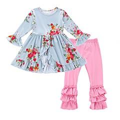 billige Tøjsæt til piger-Baby Pige Aktiv Daglig / Ferie Blomstret Blomsterstil Langærmet Lang Bomuld / Polyester Tøjsæt Lyseblå 100