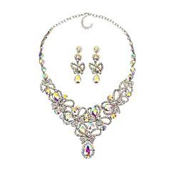 tanie Zestawy biżuterii-Damskie Syntetyczny Sapphire Rhinestone Biżuteria Ustaw Zawierać 1 Naszyjnik Náušnice - Klasyczny Duże Modny Kwiat Kolczyki wiszące