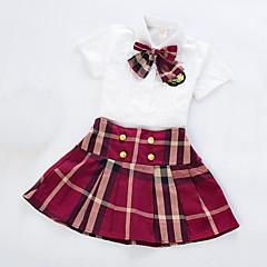 billige Tøjsæt til piger-Pige Daglig Skole Ternet Tøjsæt, Rayon Sommer Kortærmet Afslappet Rød