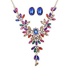 baratos Conjuntos de Bijuteria-Mulheres Conjunto de jóias - Clássico, Oversized Incluir Brincos Compridos Colar Y Dourado Para Cerimônia Festa de Noite