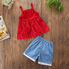 billige Tøjsæt til piger-Pige Tøjsæt Daglig I-byen-tøj Ensfarvet, Bomuld Polyester Forår Sommer Uden ærmer Sødt Afslappet Rød