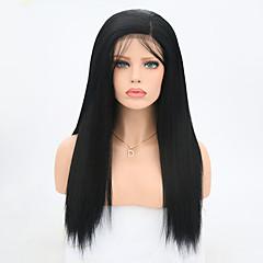 billiga Peruker och hårförlängning-Syntetiska snörning framifrån Yaki Rakt Syntetiskt hår Svart Peruk Dam Lång Naturlig peruk Spetsfront