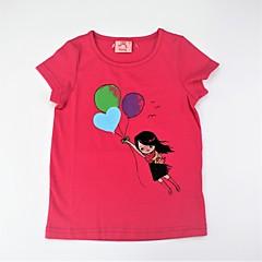 baratos Roupas de Meninas-Para Meninas Camiseta Diário Estampado Estampa Colorida Verão Algodão Manga Curta Fofo Activo Verde Fúcsia