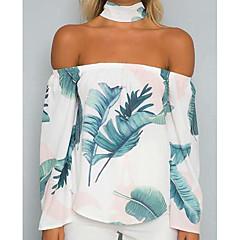 Damen Blumen Festtage Bluse, Schulterfrei Halsband Druck Tropisches Blatt