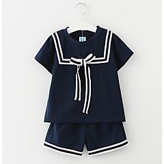 billige Tøjsæt til piger-Børn Pige Simple Skole Stribet Kortærmet Tøjsæt