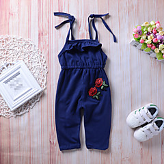 billige Bukser og leggings til piger-Baby Pige Gade / Punk & gotisk Sport / I-byen-tøj Ensfarvet / Blomstret / Jacquard Vævning Åben ryg / Sløjfer / Drapering Uden ærmer Polyester Overall og jumpsuit Blå