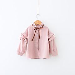 billige Jenteklær-Jente Daglig Skjorte Stripet Bomull Polyester Vår Langermet Enkel Fritid Blå Rosa