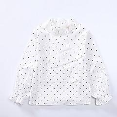 billige Pigetoppe-Børn Pige Simple Prikker / Trykt mønster Blonder Langærmet Bomuld Skjorte / Sødt