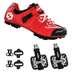 billige Sykkelsko-SIDEBIKE Voksne Sykkelsko med pedal og tåjern / Mountain Bike-sko Karbonfiber Demping Sykling Rød / Svart Herre