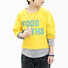 billige Hættetrøjer og sweatshirts til drenge-Børn Drenge Simple Blomstret Normal Bomuld Hættetrøje og sweatshirt Blå 140