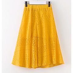 baratos Roupas de Meninas-Para Meninas Saia Diário Sólido Verão Verde Amarelo
