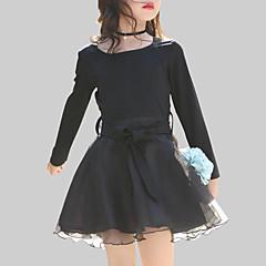 baratos Roupas de Meninas-Menina de Vestido Diário Para Noite Retalhos Primavera Outono Raiom Poliéster Manga Longa Casual Preto
