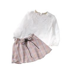 billige Tøjsæt til piger-Pige Tøjsæt I-byen-tøj Ensfarvet Trykt mønster Ternet, Polyester Forår Efterår Langærmet Simple Aktiv Hvid