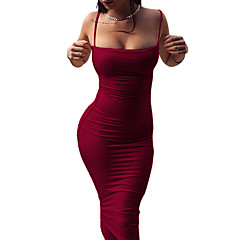Women's Bodycon Sheath Dress - Solid Color, Backless Strap