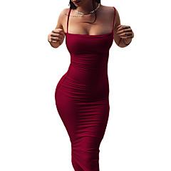 Damen Bodycon Hülle Kleid - Rückenfrei, Volltonfarbe Gurt