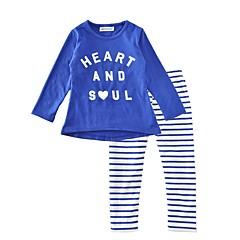 billige Tøjsæt til piger-Baby Unisex Afslappet Daglig / Ferie Stribet Stilfuldt / Stribe Langærmet Normal Normal Bomuld Tøjsæt Marineblå